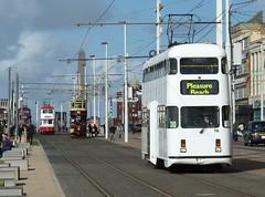 20160925 Blackpool 4 double-deck trams (blackpoolbeach) Tags: blackpool tramway trams streetcar doubledeck track promenade heritage