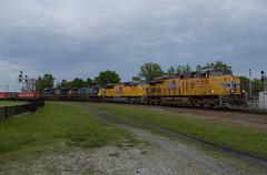Foreign Power in Fostoria (Joseph Bishop) Tags: up 8129 ge fostoria ohio csx trains train track tracks railfan railroad railway rail rails