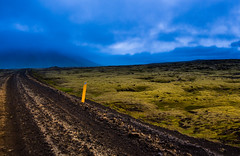 Some Anonymous Road (imogenstraub) Tags: 2016 iceland imogenstraub owlpotheosis photography scandinavia scandinavian nordic reykjavik urban city capitol westiceland blue green chartreuse curve road rugged dirt dirtroad gravel storm stormy foggy fog mist