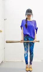 Galaxy Leggings by Mitmunk (heatherjoan) Tags: sky hat fashion vancouver stars clothing shoes pattern bc legs baseball designer heather bat tights cap galaxy heels local printed eastvan constellation leggings mitmunk