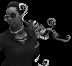 fun with Photoshop (Qeturah) Tags: life sea bw usa white lake black me animal photoshop canon fun illinois attack round octopus