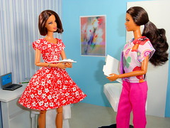Ready for the next patient (the waverlys) Tags: blue white standing office doll dress barbie melissa story dio africanamerican kelly series setup dermatologist basics aa diorama dollies stardoll