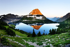 Panoramic Hidden Lake - Glacier National Park (Oilfighter) Tags: panorama lake reflection sunrise canon mark iii pass hidden 5d glaciernationalpark logan goingtothesunroad 1740mmf4