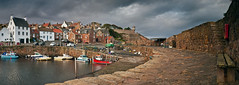 Sunshine on Crail (SwaloPhoto) Tags: panorama wall bench boats coast scotland fishing harbour fife coastal northsea lee 06 buoys slipway lobsterpots firthofforth crail creels bythesea eastneuk buoyant leefilters panasonicdmcgf1 rf75 gndh