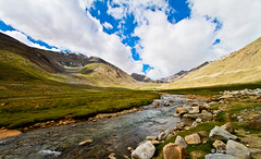 Stream Of Water At Leh, Ladakh (Pranav Bhasin) Tags: blue sky mountains beautiful clouds river landscape leh breathtaking ladakh northpullu