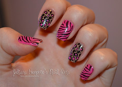 Nail art alterada! (Juliana Honório's Nail Arts) Tags: pink wild brown animal nail nails zebra m57 impala nailpolish risque nailart onça unha animalprint esmalte konad 5cinco