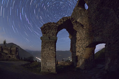 Steinschloss (herbraab) Tags: sky night star arch ruin fisheye astronomy constellations ursamajor twan startrails polaris ursaminor steinschloss sigma10mmf28 canoneos550d