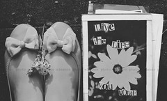 Live the Life you Love ! (eleanor .) Tags: life summer sun white black flower love feet me nature writing vintage scrapbook outside happy freedom evening blackwhite shoes soft pretty books quotes bow dreamy feelings