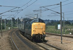 BR Class 55 55019, Oakleigh Park (Crewcastrian) Tags: 55019 oakleighpark br class55 trains 1980 transport royalhighlandfusilier deltic railways englishelectric