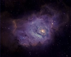 M 08 The Lagoon Nebula in HST palette/DSLR narrowband (astrochuck) Tags: apt canon stars star space lagoon apo telescope nebula astrophotography m8 astronomy ha t3 messier cf deepspace palette hubble 1100 t3i milkyway hst sii oiii 102mm deepsky apochromatic 600d nebulosi