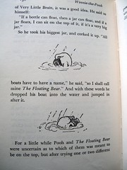 For a little while Pooh and The Floating Bear were uncertain as to which of them was meant to be on the top... (Lise Petrauskas) Tags: bear original usa art illustration vintage portland photography book photo blackwhite artist drawing or bears photograph owl winniethepooh childrensbook authentic hardcover aamilne ehshepard lisepetrauskas