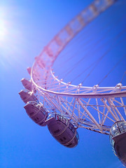 Eye In The Blue Sky - London by Simon & His Camera (Simon & His Camera) Tags: blue light sky urban sun sunlight london lines skyline outdoor londoneye southbank lookingup rings iconic simonandhiscamera