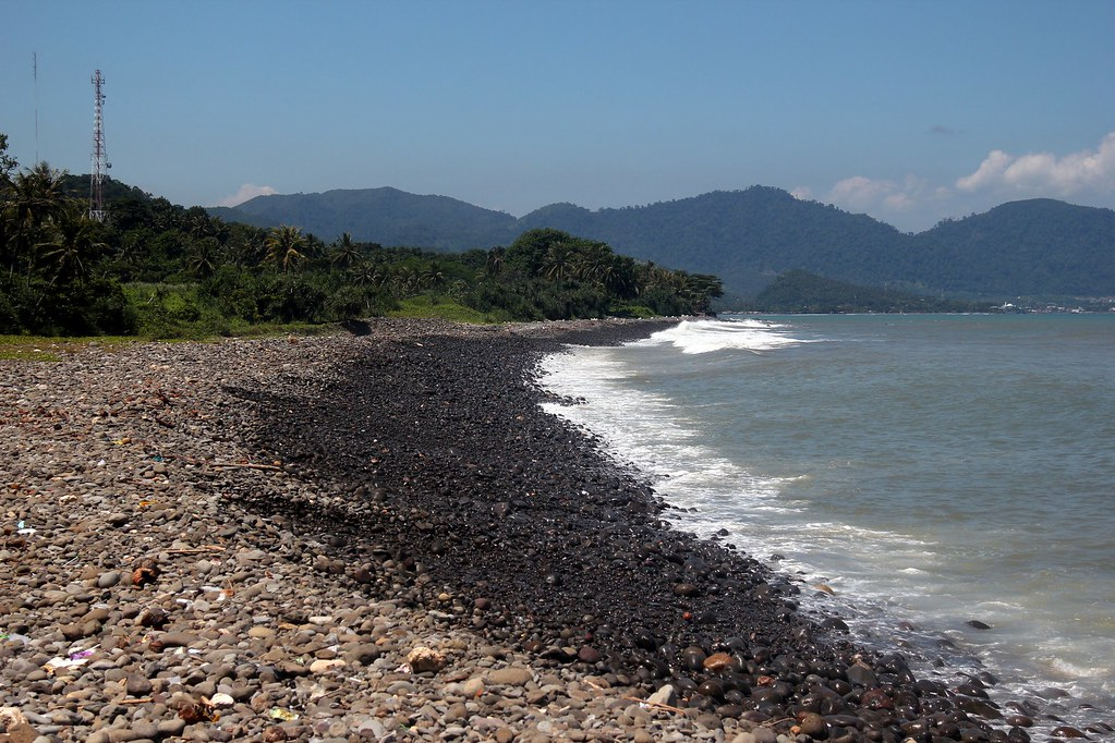 Beach and hills, Cimaja, West Java, Indonesia