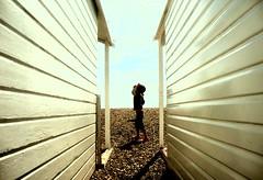 Beach Huts (brightondj - getting the most from a cheap compact) Tags: beach lines child perspective pebbles beachhut shorehambysea