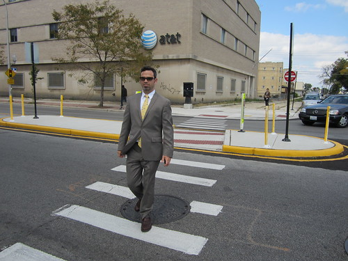 CDOT Commissioner Klein tries crosswalk with refuge island