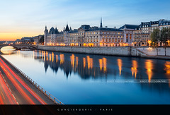 Conciergerie, Paris (Beboy_photographies) Tags: paris france seine sunrise de soleil lumire voiture reflet hdr lever batiment fleuve historique conciergerie fils