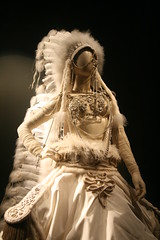 Gaultier Exhibit: Native American Inspired Wedding Dress (shaire productions) Tags: sf sanfrancisco wedding white inspiration detail art beauty fashion museum work french design beads outfit artist dress image display artistic designer lace military creative feathers style exhibit exhibition nativeamerican creation deyoung gown custom hautecouture gaultier couture cultural stylish headdress stylist tassles fashionable jeanpaulgaultier highfashion fashiondesigner