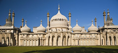 Royal Pavilion, Brighton (CardiganKate) Tags: panorama moon building grass brighton cream arches bluesky palace canon5d domes canonef2470mmf28lusm turrets treeshadow royalpavilion autumnsun georgeiv elaborate chinoisery