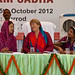 UN Women Executive Director Michelle Bachelet attends a gram sabha (local council) meeting with elected women representatives and grassroots women during a three-day visit to India from 3 to 5 October 2012