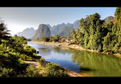 The gorgeous Nam Song river  ... Explore # 1 Thank you ! (scrabble.) Tags: mountains river asia riverside laos karst lao vangvieng thenamsongriver