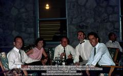 """Image from sergeants' mess, RAF Khormaksar, Aden circa 1966.From left: Tim Holt, Joan Holt, Trevor Champion, John Waghorn and Ivor Davies (Ivor """"Taff"""" Davies) Tags: 1960s 1965 1966 1967 aden adenharbour adenpeople airbase airfield arabianpeninsula gulfofaden ivortaffdaviessergeantelectricalfitter joanholt johnwaghornenginefitter people raf rafkhormaksar royalairforce scannedslide sergeantsmess strikessf strikesecondlineserviceflight strikewingservicingsquadron timholtchieftecharmourer trevorchampion voigtländervitoc yemen khormaksar"""