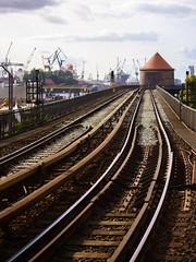 0910 - u3 (trashpater) Tags: urban brown river germany metro bokeh harbour crane sony hamburg rail sight elevated publictransport 50 sel townscape elbe railstation nex7