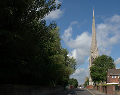 Towards St Walburges church in Preston (Tony Worrall Foto) Tags: preston north northwest lancs lancashire england northern uk update place location visit area county attraction open stream tour country welovethenorth unitedkingdom urban outside ashton buildings season summer city sights site green bloom grow nature urbannature church spire tall point