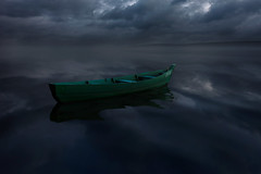 *** (ash vain) Tags: landscape lake boat night clouds reflection russia