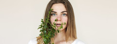 (Kat.Aitch) Tags: kat aitch photography photographer model self girl white blonde blue eyes plant green selfportrait portrait colour colours