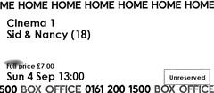 Sid And Nancy @ Home, Manchester 4/9/2016 (stillunusual) Tags: manchester home sidandnancy sexpistols sidvicious nancyspungen alexcox film movie cinema ticket cinematicket 2016