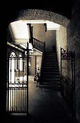 come in [EXPLORE 2016-08-13] (pix-4-2-day) Tags: entry eingang pforte fahrrad gate bicycle licht schatten torbogen bogen arch light highcontrast kontrast monochrome stairs treppen treppenhaus staircase entrance eisengitter explore pix42day explored stairway