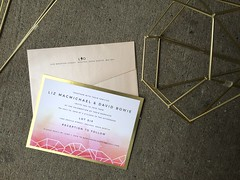 Liz & David (dulynotedstationery) Tags: wedding invitation invite geometric watercolour modern pink gold