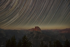 Solitude (The Byrne Files) Tags: yosemite halfdome starcircles alpenglow sunset sky stars startrails airplanes forest mountains trees rocks outdoors byrneimagescom