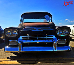 1959 Chevy Truck (Pomona Swap Meet) Tags: pomonafavorites pomonaswapmeet chevytruck chevy chevrolet pickuptruck truck rust patina chrome 1959 1959chevytruck classictruck classicchevy bluesky headlights