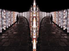 I'll Follow You Into The Dark (Novowyr) Tags: japan kyoto arashiyama kimonoforest illfollowyouintothedark mirrored night people strongcolors city sony carlzeiss f28zassm diptych montage kimonofabrics glamorosco randenline keifukuarashiyamaline installation art led kamedatomi pattern traditional lightpoles girl kimonokomichi 嵐電 嵐山駅 友禅 キモノフォレスト パワースポット