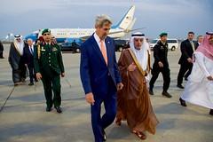Secretary Kerry Walks With Saudi Arabia Foreign Minister Adel al-Jubeir After Arriving at Abdulaziz International Airport in Jeddah (U.S. Department of State) Tags: johnkerry jeddah saudiarabia adelaljubeir