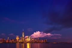 ([ raymond ]) Tags: manhattan nyc skyline img2157 hudsonriver reflection twilight bluehour pinkcloud sky cityscape