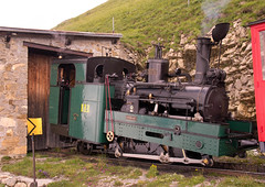 Swiss (BRB) Brienz-Rothorn Bahn 800mm gauge Class H 2/3 rack loco No. 2 at Rothorn Kulm summit on 11 August 2016 (A Scotson) Tags: rackandpinion rackrailway cograilway slm brienz rothorn brienzrothornbahn brb swiss steam 800mmgauge narrowgauge mountains chalet locomotive train rothornkulm summit