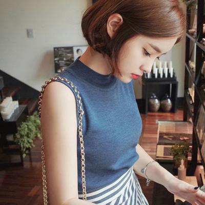 GroupOn stricken * koreanische Version des selbst in den Sommertop gestrickt ärmellose Westen Rollkragen Pullover Mädchen dünne Pullover