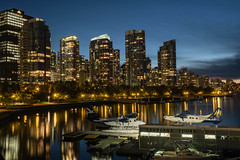 First impression, Vancouver (Sunny Herzinger) Tags: bc britishcolumbia canada vancouver fujixpro2 light night plane sea sunset travel ca