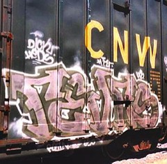 RVS-GRAFF-PINK FREIGHT (Jonny Farrer (RIP) Revers, US, HTK) Tags: graffiti bayareagraffiti sanfranciscograffiti sfgraffiti usgraffiti htkgraffiti us htk revers rvs devo voidr voider reb halt
