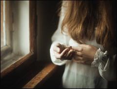 * (derlevi) Tags: woman butterfly freedom window hand light