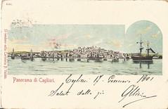 Cagliari_panorama dal mare_1901 (paolocogoni) Tags: sardegna cagliari cartolina antica vintage sardinia panorama mare porto sardinien sardinie cerdena