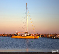 Evening Arrival (Wipeout Dave) Tags: catamaran canetenrousillon boat evening harbour marina sailing djs2016 davidsnowdonphotography canoneos1100d wipeoutdave