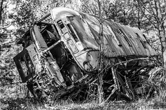 Out of service (#Weybridge Photographer) Tags: chernobyl chornobyl pripyat ukraine nuclear disaster exclusion zone radiation reactor urban decay decaying abandoned discarded adobe lightroom canon eos dslr slr 40d bus coach public transport overturn overturned rust rusting school