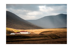 Farm Buildings (osh rees) Tags: iceland autumn evening light landscape sun mountains fuji xpro2 90mm