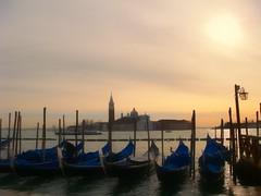 Magical Venice - gondolas bobbing in the waters under the dusky sky (PsJeremy) Tags: venice gondola  venezia sony italy dusk dawn goldenhour