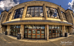 Kitchener Memorial Auditorium - HDR (Dude with a Canon) Tags: ontario hockey clouds reflections fisheye 7d hdr highdynamicrange league topaz ohl photomatix kitchenerrangers kitchenermemorialauditorium topazadjust topazdenoise