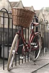 Red Bike with Wicker Basket (Paul *) Tags: ladies bike bicycle basket cycle wicker railings