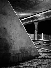 Under the Zakim (Dan Squires) Tags: longexposure cambridge bw night massachusetts zakim bronicarf645 fujiacros100 npy